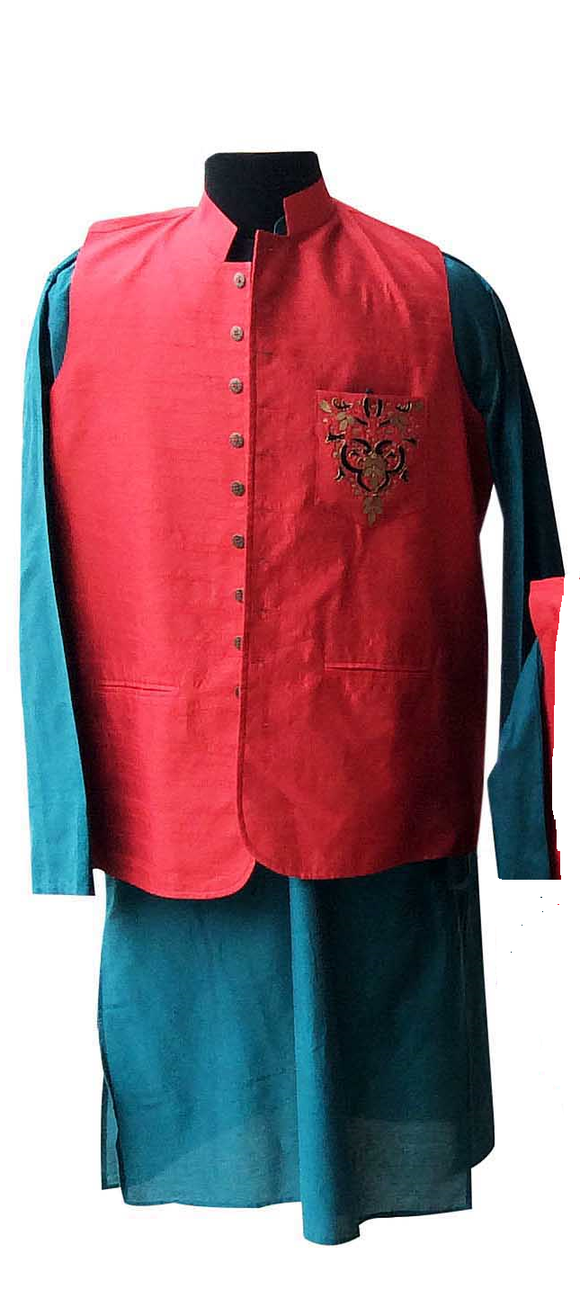 Red/blue/black embroidered Nehru jacket and kurta for Father