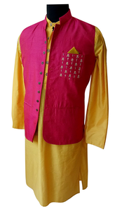 Yellow anarkali/Pink Nehru jacket and kurta for Father