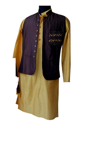 Brown/Mustard bird embroidery Nehru jacket and  kurta for Father