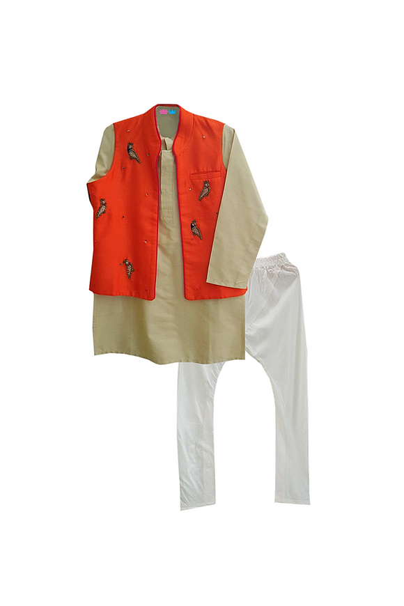 Beige kurta with zardozi tia jacket and churidar