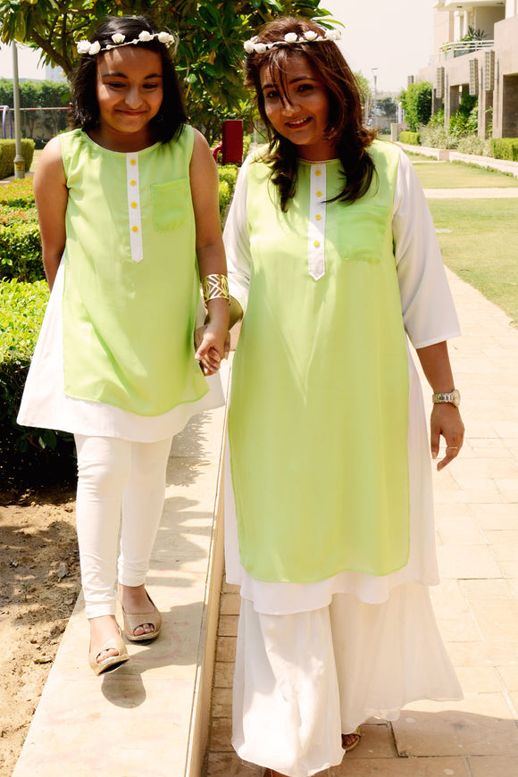 Green and white double layered kurta set