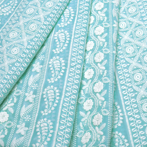 Earthy Blue Georgette Embroidered Fabric