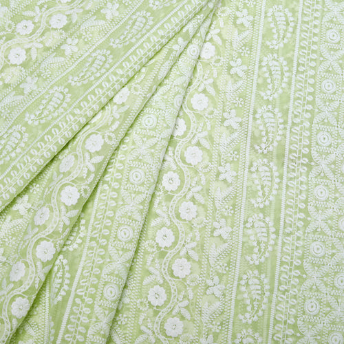 Earthy Lime Green Georgette Embroidered Fabric