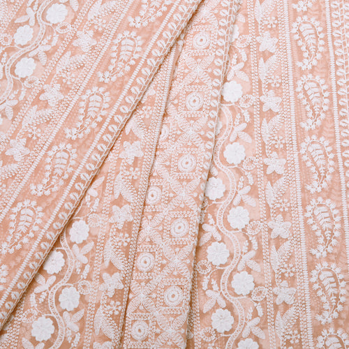 Earthy Peach Georgette Embroidered Fabric
