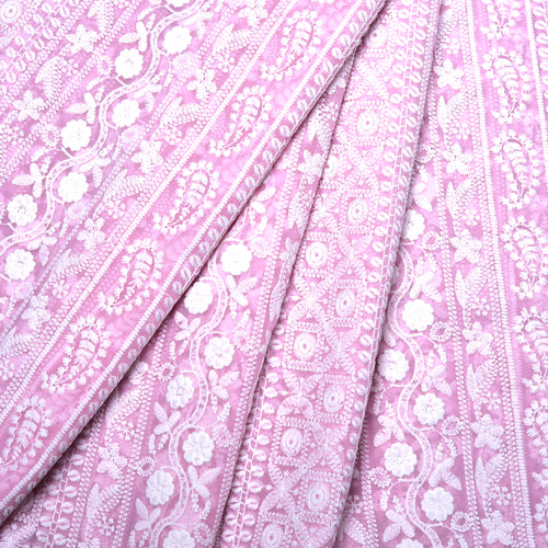 Earthy Pink Georgette Embroidered Fabric