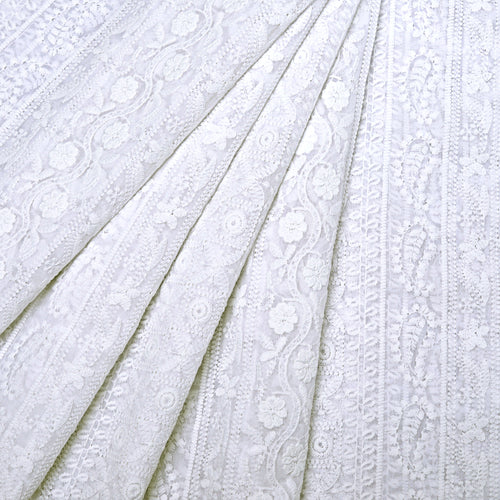 Earthy White Georgette Embroidered Fabric