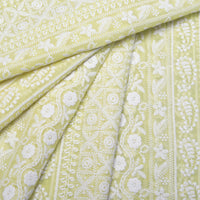 Earthy Yellow Georgette Embroidered Fabric