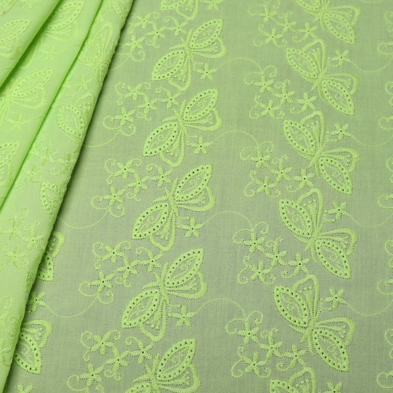Green Butterfly Embroidered Premium Cotton Fabric