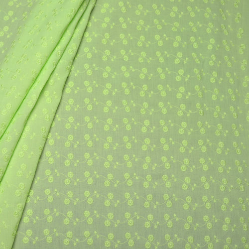 Green Floral Embroidered Premium Cotton Fabric
