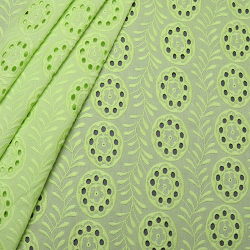 Green Leaves Embroidered Premium Cotton Fabric