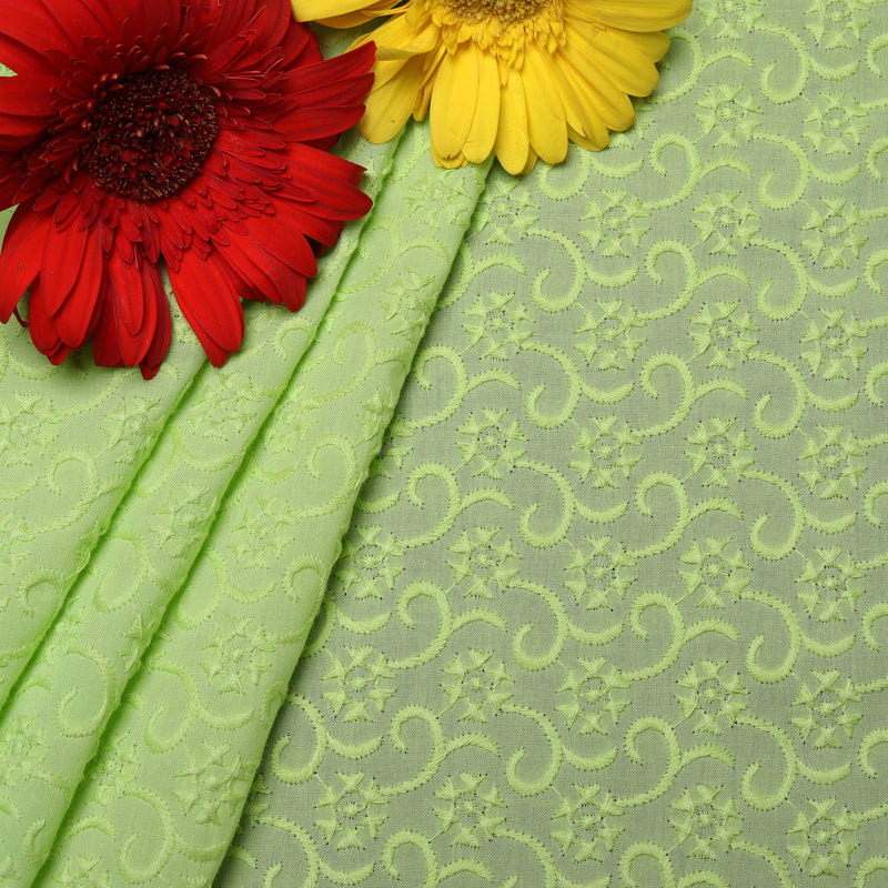 Green Luxe Embroidered Premium Cotton Fabric