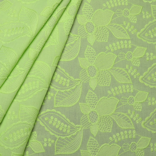 Green Petals Embroidered Premium Cotton Fabric