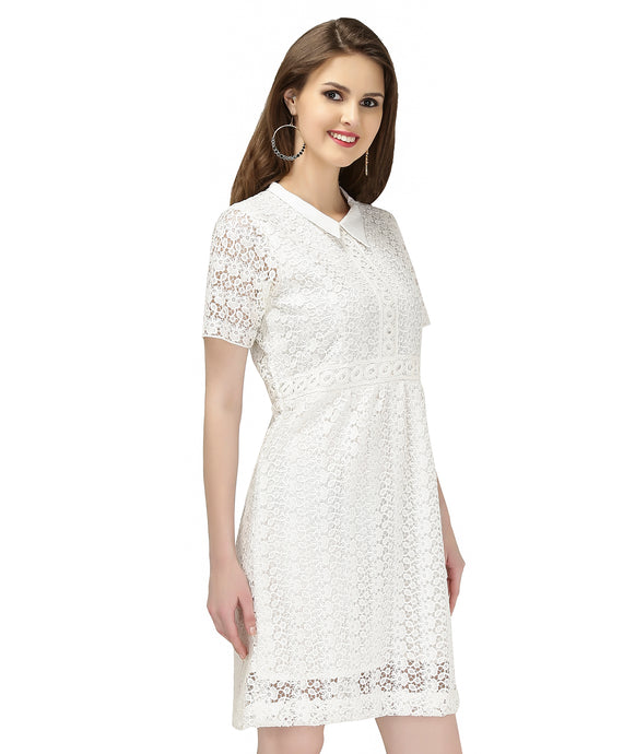 WHITE CROCHET COLLAR DRESS