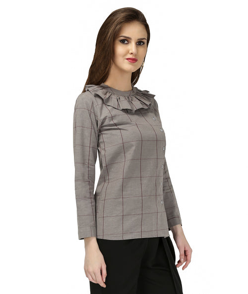 GREY CHECK MATE FRILL SHIRT