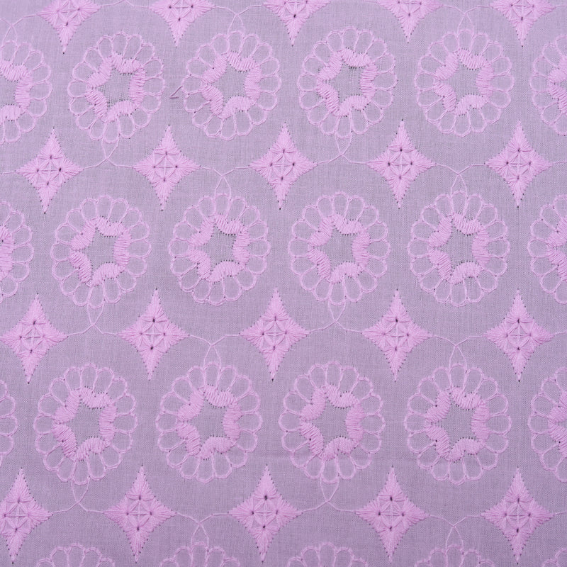 Lavender Sunflower Embroidered Premium Cotton Fabric