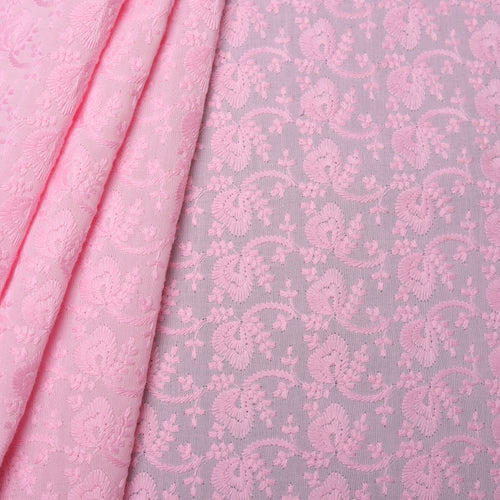 Pink Bloom Embroidered Premium Cotton Fabric