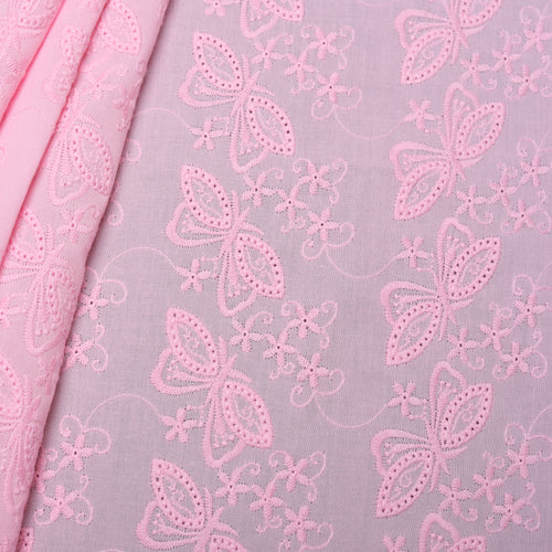 Pink Butterfly Embroidered Premium Cotton Fabric