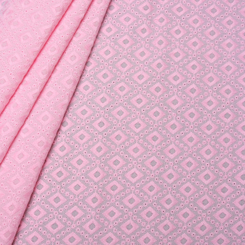 Pink Diamond Embroidered Premium Cotton Fabric