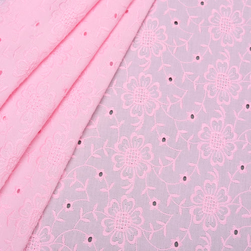 Pink Floret Embroidered Premium Cotton Fabric