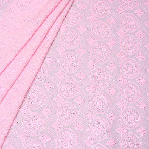 Pink Hues Embroidered Premium Cotton Fabric