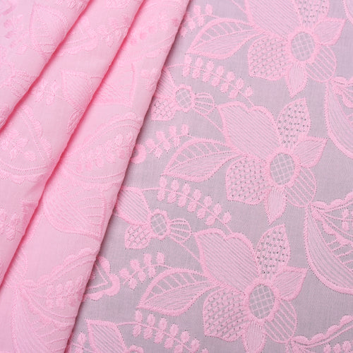 Pink Petals Embroidered Premium Cotton Fabric