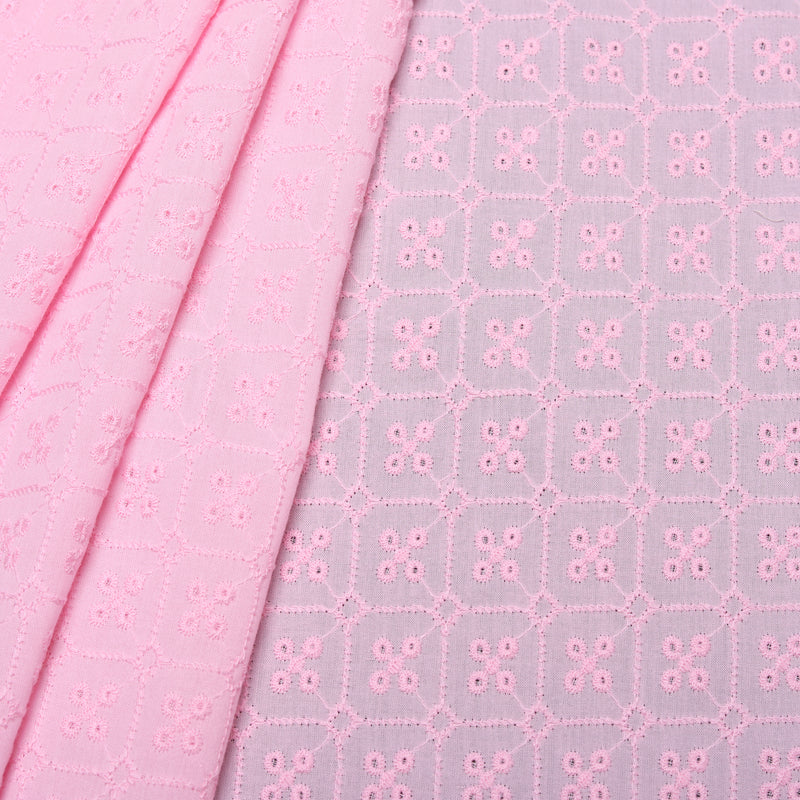 Pink Stud Embroidered Premium Cotton Fabric