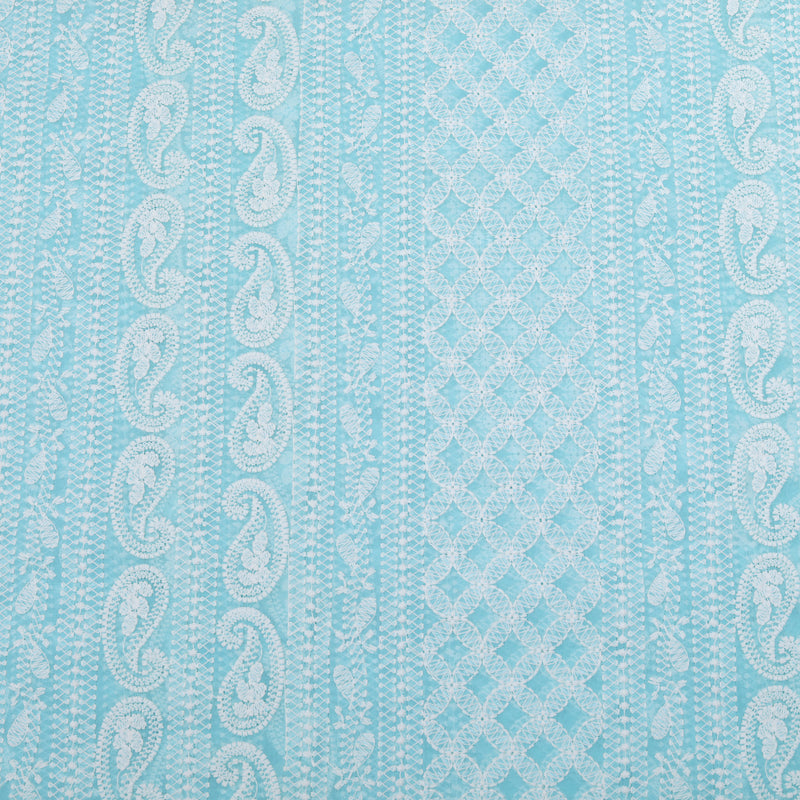 Spring Blue Georgette Embroidered Fabric