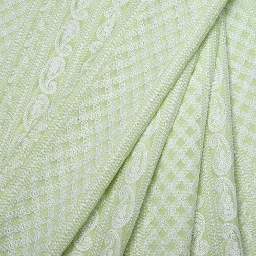 Spring Lime Green Georgette Embroidered Fabric