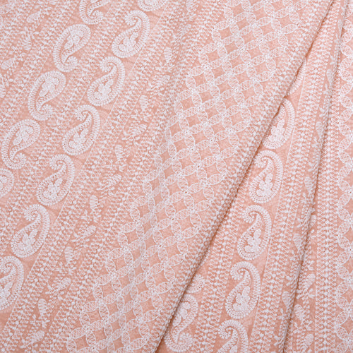 Spring Peach Georgette Embroidered Fabric