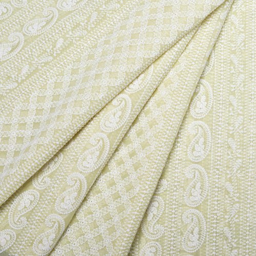 Spring Yellow Georgette Embroidered Fabric