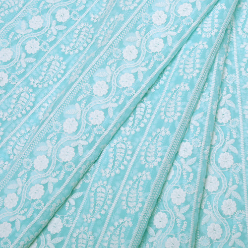 Summer Blue Georgette Embroidered Fabric