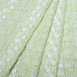 Summer Lime Green Georgette Embroidered Fabric