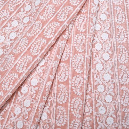 Summer Peach Georgette Embroidered Fabric