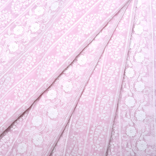 Summer Pink Georgette Embroidered Fabric