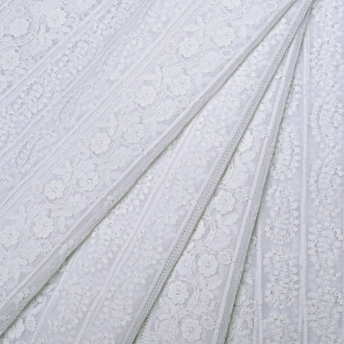 Summer White Georgette Embroidered Fabric
