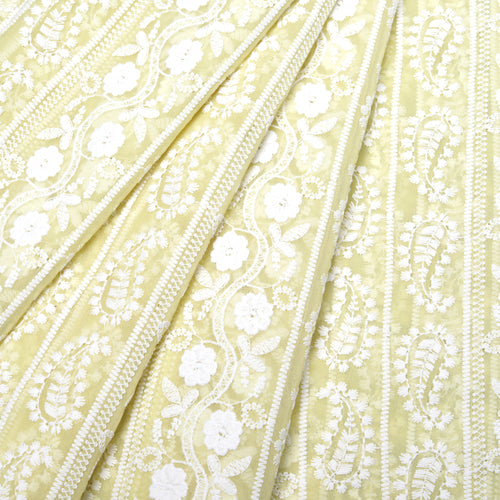 Summer Yellow Georgette Embroidered Fabric