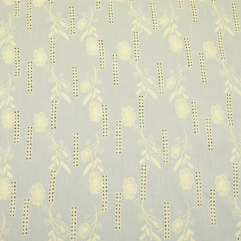 Yellow Flora Bar Embroidered Premium Cotton Fabric