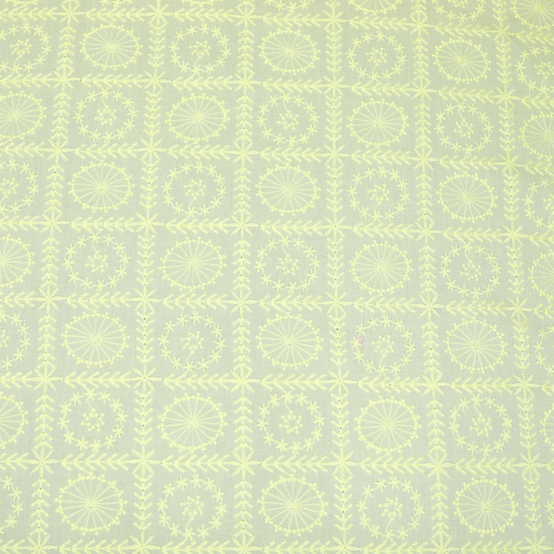Yellow Geometrical Embroidered Premium Cotton Fabric