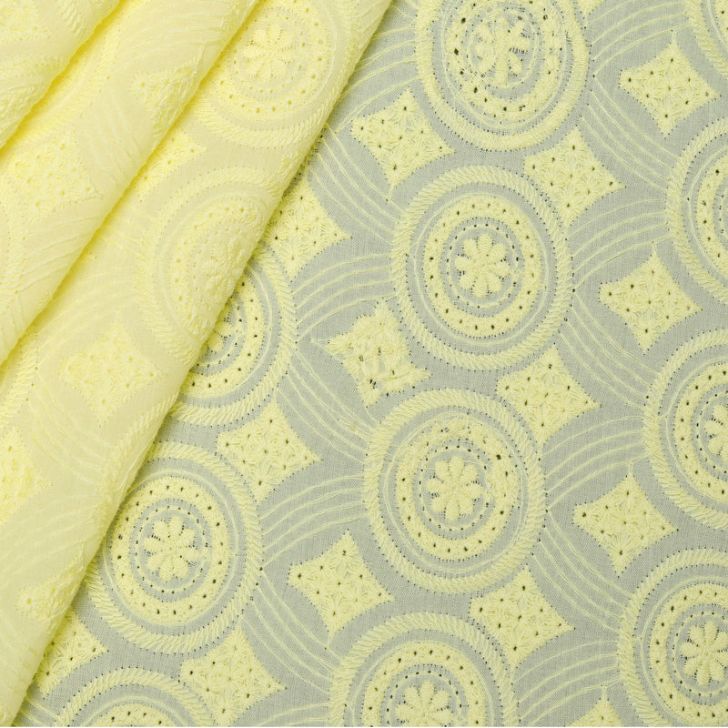 Yellow Hues Embroidered Premium Cotton Fabric