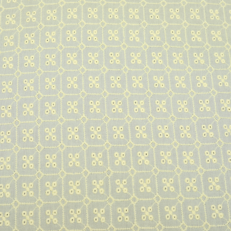 Yellow Stud Embroidered Premium Cotton Fabric