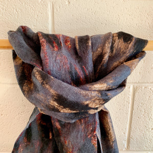 Felted Silk Scarf - Black and Grey