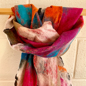 Felted Silk Scarf - Blue, Pink and Orange