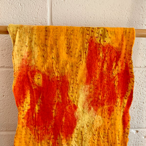 Yellow and Orange Felted Wool & Silk Scarf