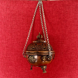 10cm Hanging Copper Incense Burner with 8 Auspicious Symbols