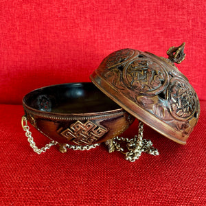 13cm Hanging Copper Incense Burner with 8 Auspicious Symbols