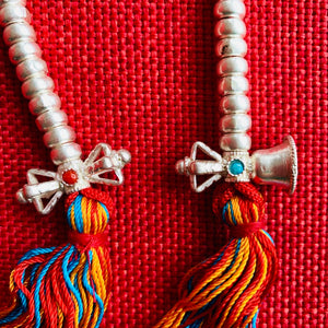 Silver Mala Counters 7mm - Red String & Tassel
