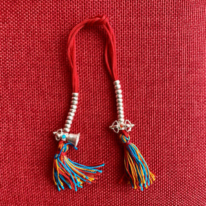 5mm Sterling Silver Mala Counters with Bell and Dorje, red string and coloured tassel