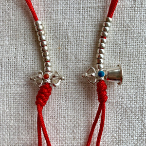 Sterling Silver Mala Counters with Bell and Dorje, red string and 3mm wide beads