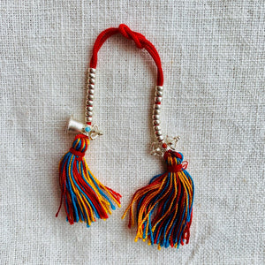 Sterling Silver Mala Counters with Bell and Dorje, red string, coloured tassel and 3mm wide beads