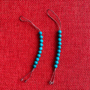 Composite Turquoise Mala Counters with brown string and 6mm beads